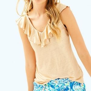 Lilly Pulitzer Alessa Gold Sand Dune Ruffled Top